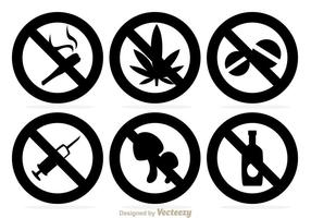 No Drogues Icônes noires vecteur