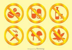 Pas de drogue Signe d'or vecteur