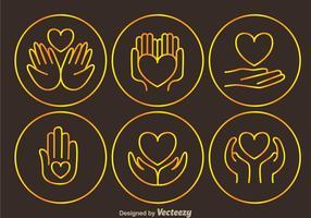 Faire un don d'icônes de contours d'étain vecteur