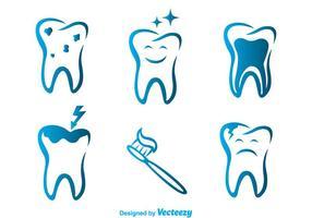 Icônes bleues des dents vectorielles