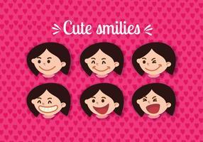 Vecteurs de visage souriants féminins vecteur