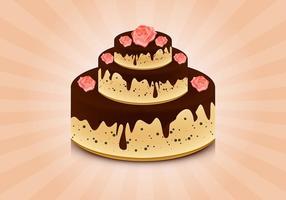 Gâteau avec des roses vecteur de fond