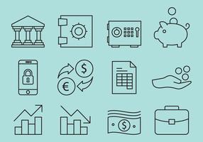 Vecteurs d'icônes de banque de lignes