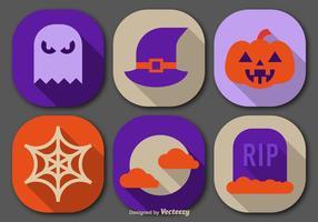 Icônes de couleurs plates et halloween vecteur