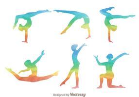 Icônes de silhouette de l'arc-en-ciel de gymnaste