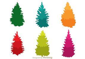 Icônes colorées des arbres de cèdres vecteur