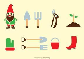 Icônes d'outils de jardinage vecteur