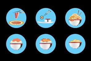 Vecteurs d'icônes d'aliments orientaux vecteur
