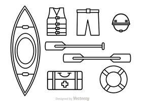 Icônes de contour de Rafting de rivière vecteur