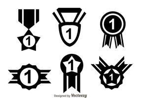 Première place, ruban, icônes noires vecteur