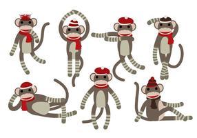 Vecteurs de singe de chaussette vecteur