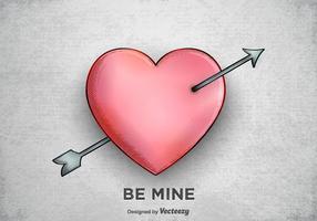 Flèche libre à travers le vecteur coeur