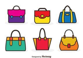 Icônes de couleur de sac de vecteur