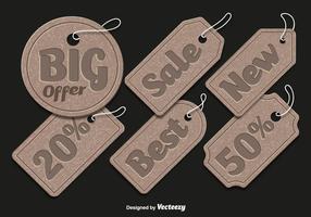 Étiquettes de vente en carton vecteur