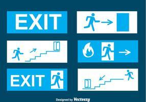 Vecteurs de signe bleu de sortie d'urgence vecteur