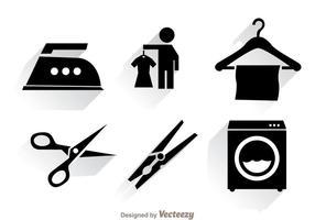Blanchisserie Icônes noires vecteur