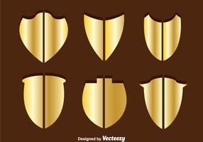 Vecteurs en forme de bouclier en or
