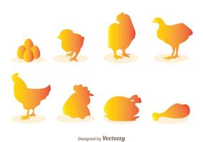 Vecteurs de silhouettes de poulet vecteur