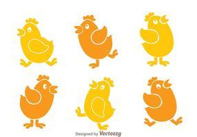 Icônes de dessin animé de poulet vecteur