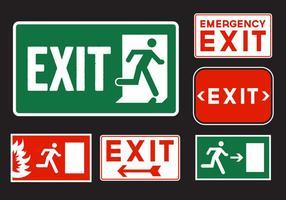 Panneaux de sortie d'urgence vecteur