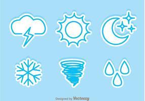 Icônes d'autocollants météorologiques vecteur