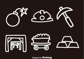 Vecteurs d'icônes de griffonnage de mine d'or vecteur