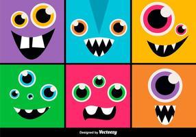Expressions de monstres de bande dessinée vecteur
