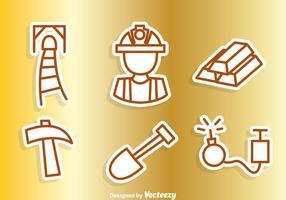Icônes de contour de mine d'or vecteur