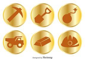 Icônes d'objets de mine d'or vecteur