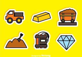 Or et diamant Mine Sticker Icons vecteur