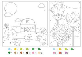 Pages de coloriage avec des guides de couleurs vecteur