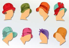 Chapeaux pour dames 1930 vecteur