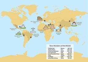 Wonders Of World Map Vector