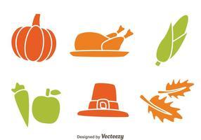 Icônes de Thanksgiving isolées vecteur