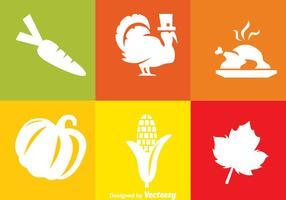 Icônes blanches de Thanksgiving vecteur