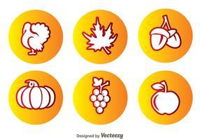 Icônes du cercle de Thanksgiving vecteur