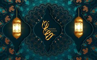 ramadan kareem salutation avec deux lanternes suspendues vecteur
