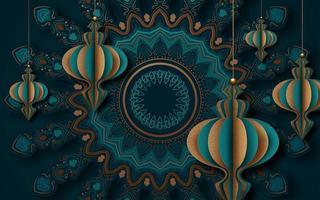 conception de carte de voeux style papier découpé pour ramadan