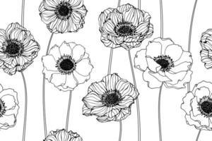 fleurs d'anémone dessinés à la main vecteur