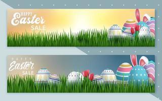ensemble d'étiquettes de bannière de vente de Pâques
