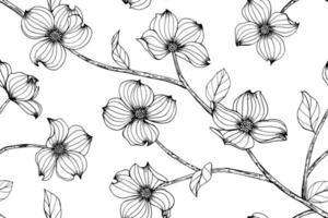 fleurs de cornouiller dessinées à la main vecteur