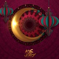 affiche du ramadan kareem avec lune dorée et lanternes en papier