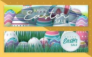 bannière de vente de Pâques sertie d'oeufs dans l'herbe