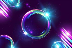 conception de bulle et de lignes néon rouge violet violet