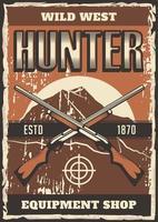 fusil de chasse affiche ouest sauvage vecteur