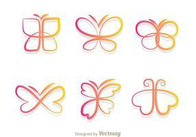 Icônes de gradient de papillons vecteur