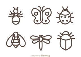 Insectes icônes isolées vecteur
