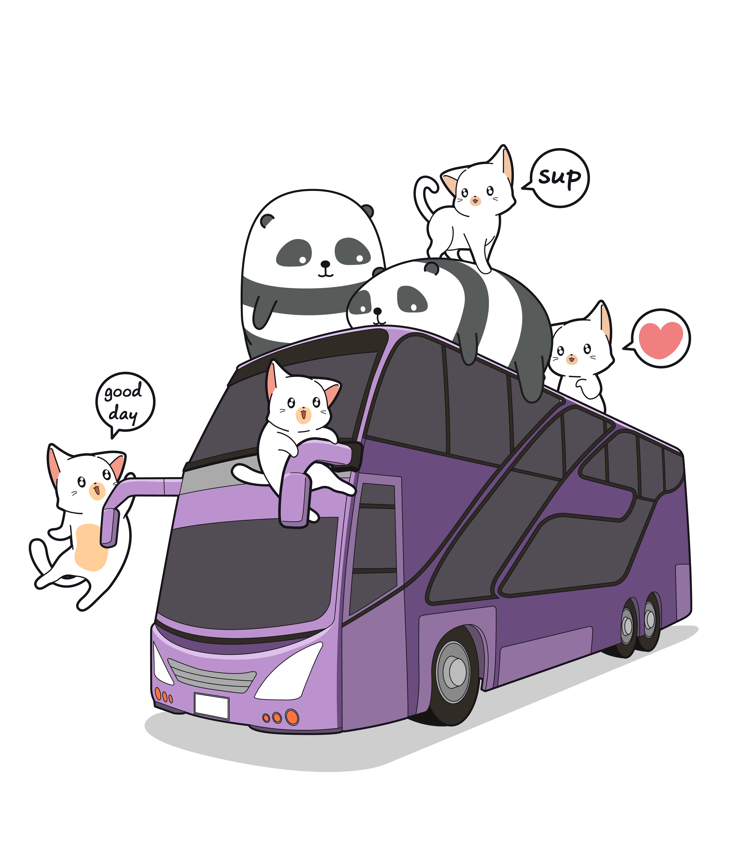 Kawaii Chats Et Pandas Dans Le Bus Telecharger Vectoriel Gratuit Clipart Graphique Vecteur Dessins Et Pictogramme Gratuit