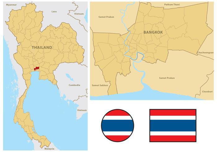Mapa da Tailândia vetor