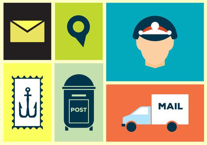 Ícones de vetores postais